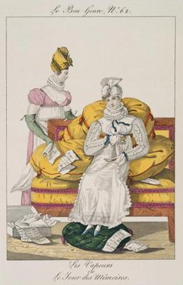 The Vapours or The Accounts Day, plate 62 from 'Le Bon Genre', 1813 (coloured engraving) 1930