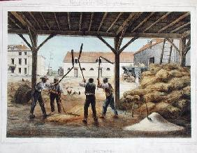 Threshing corn, illustration from a school textbook 'Enseignement par les yeux', 2nd half 19th centu C19th