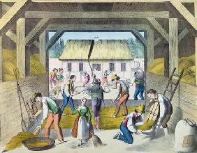 Work in the Farmyard, probably in Eastern France, 2nd half 19th century (colour litho) 18th