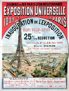 Poster advertising reduced price train tickets to the Exposition Universelle of 1889, from the Chemi 16th