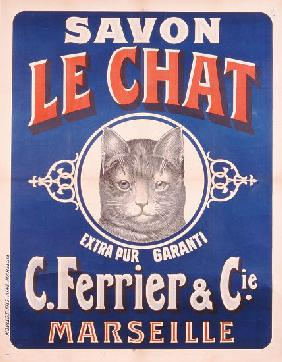 Advertisement for Savon le Chat, printed by Moullot Fils, Marseilles c.1905