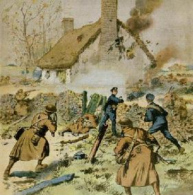 Attack by police and British troops on a farm occupied by the Sinn-Fein, cover of 'Le Petit Journal' 16th