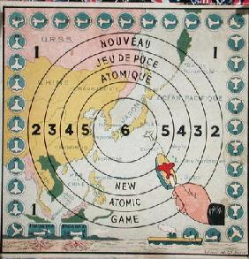 Children's game about atomic weapons, c.1945 (colour litho) 19th
