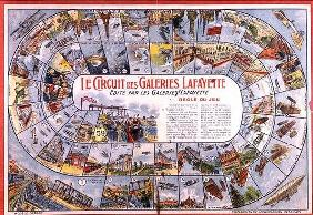 'Le Circuit des Galeries Lafayette': Game of Snakes and Ladders before 1914 (colour engraving) 14th