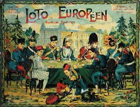 'Loto Europeen', French version of the game of Lotto for children, c.1900 (colour litho) 15th