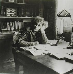 Portrait of Sidonie Gabrielle Colette (1873-1954), in her study (b/w photo) 15th