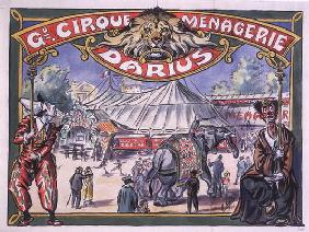 Poster advertising the 'Grand Cirque Menagerie Darius', 1924 (w/c on paper) 19th