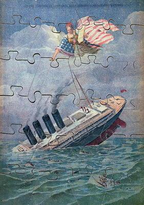 The Sinking of the Lusitania, 7th May 1915, jigsaw puzzle for children (colour litho) 14th-