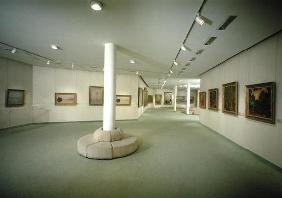 View of the basement exhibiting works by Claude Monet (1840-1926) (photo) 19th