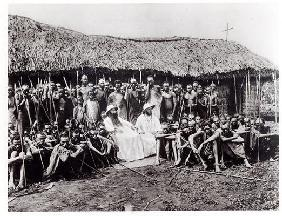 White Fathers before a chapel in adobe at Mugera (Urundi), before 1914 (b/w photo) 12th