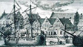 Loading at the Granary Island, from 'Fifty Views of Gdansk' 1761-65