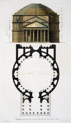 Ground plan and facade of the Pantheon, Rome, from 'Le Costume Ancien et Moderne' by Jules Ferrario, 1754