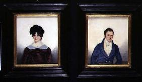 Two Portraits of a Husband and Wife in Regency Dress 1822  on