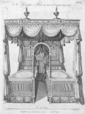 Summer bed in two compartments: plate 41, from 'The Cabinet Maker and Upholsterer's Drawing Book', b June 1792