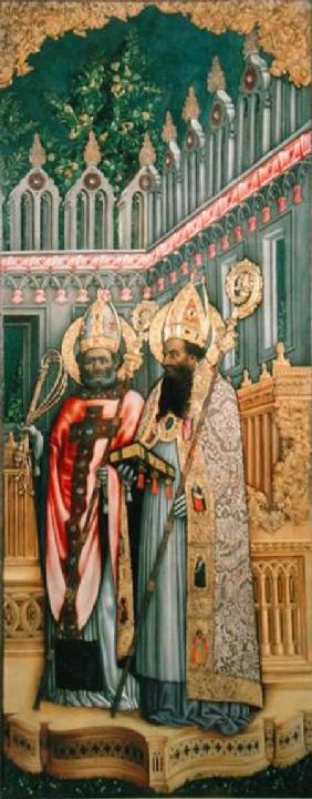 St. Ambrose and St. Augustine, right panel from The Virgin Enthroned with Saints Jerome, Gregory, Am 1446