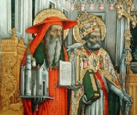 St. Jerome and St. Gregory, detail of left panel from The Virgin Enthroned with Saints Jerome, Grego 1446