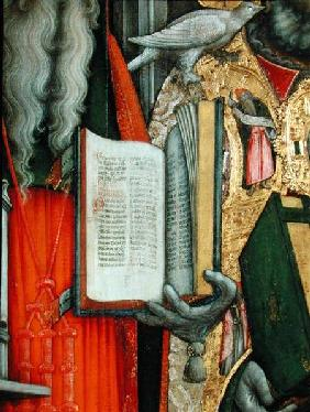 St. Jerome's Bible and St. Gregory's Dove, detail of the left panel from The Virgin Enthroned with S 1446