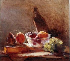 Glass Bowl with Fruit and a Cheese Board (oil on canvas)