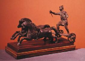 Roman chariot pulled by two galloping horses