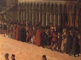 Procession in St. Mark's Square, detail of musicians 1496