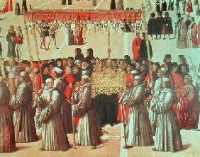 Procession in the St. Mark's Square, detail of the Basilica 1496