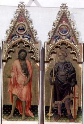 Two saints from the Quaratesi Polyptych: St. John the Baptist and St. George 1425 (tempera on panel) 19th