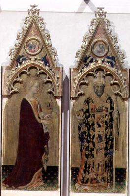 Two saints from the Quaratesi Polyptych: St. Mary Magdalen and St. Nicholas 1425 (tempera on panel) 20th