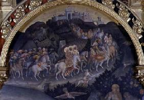 The Adoration of the Magi, detail of procession in landscape 1423