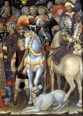 The Adoration of the Magi, detail of riders, horses and dog 1423