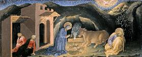 Adoration of the Magi Altarpiece; left hand predella panel depicting the Nativity 1423
