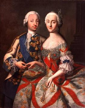 Portrait of Catherine the Great (1729-96) and Prince Petr Fedorovich (1728-62)