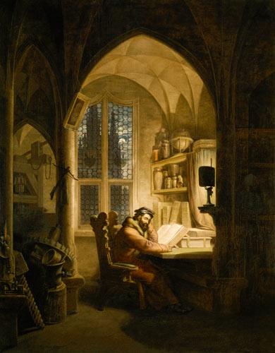 Faust im studierzimmer georg friedrich kersting als kunstdruck oder handgemaltes gem lde - Faust wandfarbe ...