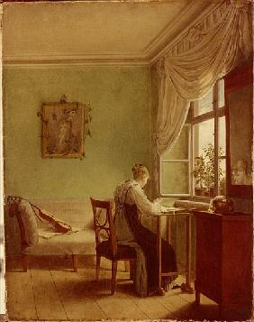 Woman Embroidering