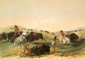 Buffalo Hunt, plate 7 from Catlin's North American Indian Collection, engraved by McGahey, Day and H 1854
