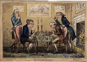 Game of Chess, published by H. Humphrey, London (coloured etching) 15h