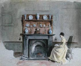 Lady Seated by Fireplace