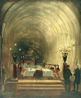 Banquet in Thames Tunnel held on 10th November 1827 to Celebrate the Tunnel's Progress c.1827