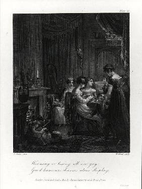 Domestic Scene, from 'The Social Day' by Peter Coxe, engraved by William Bond published