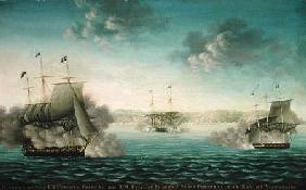Capture of the US Frigate 'Essex' by B.M Frigate 'Phoebe' and sloop 'Cherub' in the bay of Valparais