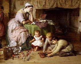 The Soldier's Wife, detail of the mother and boys playing soldiers 1878