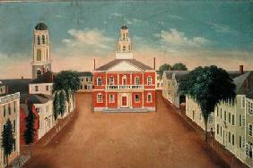 Fireboard depicting a View of Court House Square, Salem 1810-20