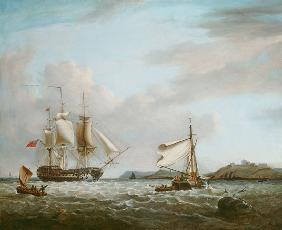 An English Man-of-War off Pendennnis Castle Falmouth 1801