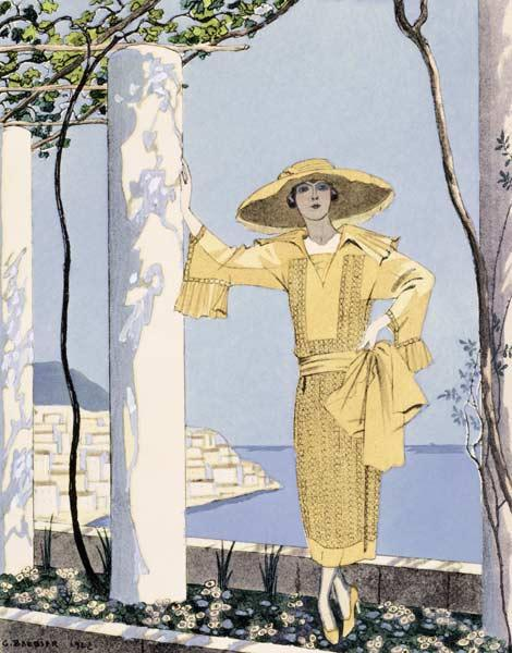 Amalfi, illustration of a woman in a yellow dress by Worth, 1922 (pochoir print) 1814