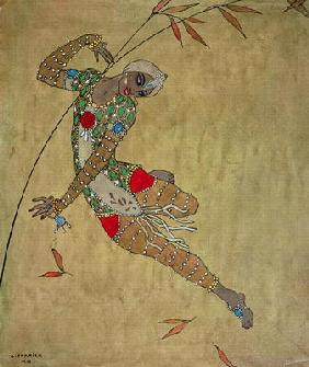 Nijinsky (1890-1950) in the role of the negro slave in the ballet 'Scheherazade' by Rimski-Korsakov 1804