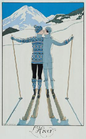 Winter: Lovers in the Snow, fashion plate from 'Twentieth Century France', 1925 (colour litho) 1716