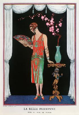 Worth evening dress, fashion plate from Gazette du Bon Ton, 1925 (litho) 1657