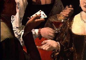 The Cheat with the Ace of Diamonds, detail of the players c.1635-40