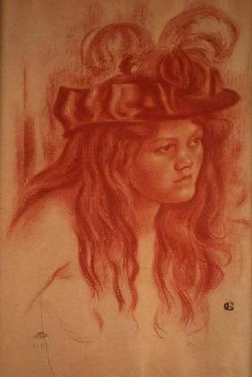 Young Girl with a Hat (crayon)