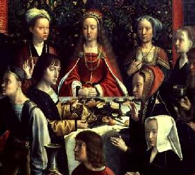 The Marriage at Cana, detail of the bride and surrounding guests