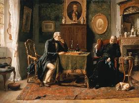 Kunstdruck von Gerard Portielje - Die Schachpartie